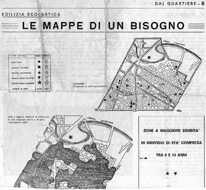 Da una pubblicazione del Quartiere 5 (San Donato), che individua l'area dei «bisogni scolastici» del basso San Donato negli anni Ottanta.Per gentile concessione di Domenico Coletti.