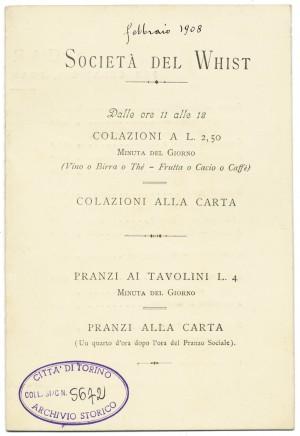 Colazioni alla carta presso la Società del Whist, febbraio 1908. © Archivio Storico della Città di Torino