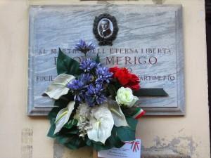 Lapide dedicata ad Amerigo Duò, in via Giachino 24. Fotografia di Alessandro Vivanti, 2018