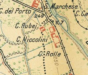 Cascina Nicolini e Cascina Arnaldi, già cascina Rubeo. Istituto Geografico Militare, Pianta di Torino e dintorni, 1911. © Archivio Storico della Città di Torino