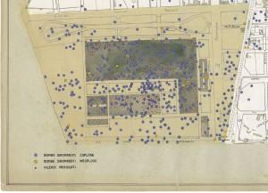 Bombe e mezzi incendiari lanciati 1:5000, 1942-1945. Zona 12: Fiat Mirafiori - Lingotto Ippodromo. ASCT, Tipi e disegni,cart. 68, fasc. 1 disegno 12, quadrante 3. © Archivio Storico della Città di Torino