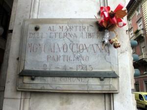 Lapide dedicata a Giovanni Moncalvo (1926 - 1945)