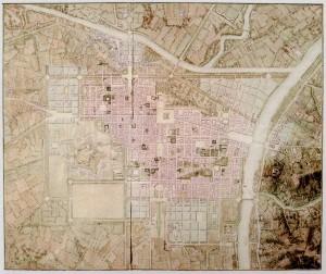 Piano d'Ingrandimento della Capitale del 1850-1851 con la prima ipotesi di riallocazione della piazza d'armi traslata verso ovest, sotto la cittadella (Istituto Storico e di Cultura dell'Arma del Genio di Roma).