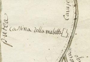 Cascina Maletta. Disegno del corso della bealera Putea. © Archivio Storico della Città di Torino