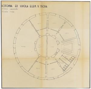 Rotonda ex Scuola Elementare V. Troia, pianta piano secondo, scala 1:100, senza data (ASCT, Tipi e disegni, cart. 14, fasc.7, n.20A)