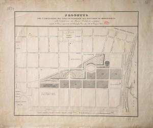 Pianta di un progetto urbanistico del collegamento del Borgo Nuovo, 1834