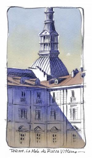 Lorenzo Dotti, Torino. La Mole da Piazza Vittorio, 2016, acquerello