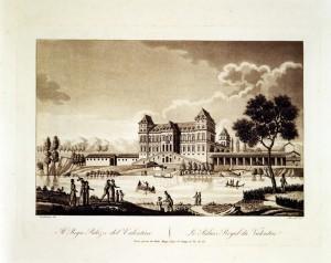 Castello del Valentino, incisione di Stucchi su disegno di Nicolosino. © Archivio Storico della Città di Torino