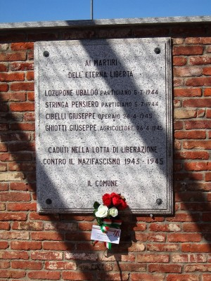 Lapide dedicata a Lozupone Ubaldo, Stringa Pensiero, Cibelli Giuseppe (Gibelli Francesco Pietro), Ghiotti Giuseppe