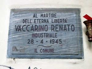 Lapide dedicata a Renato Vaccarino (1907 - 1945)