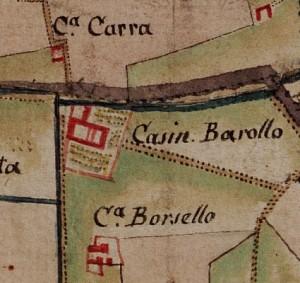 Cascina Barolo. Carta delle Regie Cacce, 1816, ©Archivio di Stato di Torino