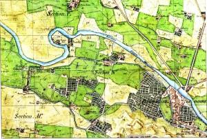 Particolare del Catasto Napoleonico (1805): esso descrive con precisione i numerosi insediamenti industriali presenti lungo il canale, evidenziandone alcuni: mulino da grano, conceria, mulino da seta, fabbrica di panni, fabbrica di maiolica.