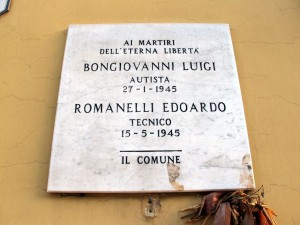 Lapide dedicata a Bongiovanni Luigi e Romanelli Edoardo