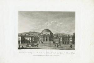 Nuova chiesa della Gran Madre di Dio. Litografia da disegno di Nicolosino, 1827. © Archivio Storico della Città di Torino.