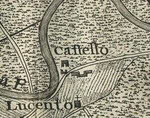 Castello di Lucento. Michele Antonio Boglione, Disegno dei confini territoriali tra la città, Gonzole, Borgaretto e Beinasco, 1785, © Archivio Storico della Città di Torino