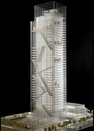 Modello tridimensionale del progetto di Massimiliano Fuksas per la nuova sede unica della Regione Piemonte in via Nizza, 2010 (www.urbanfile.it)