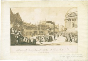Posa della pietra di fondazione della chiesa della Gran Madre di Dio, il 25 luglio 1818, litografia. © Archivio Storico della Città di Torino.