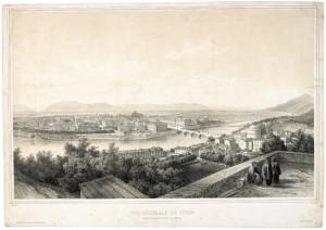 Veduta del ponte Vittorio Emanuele I dal monte dei Capuccini. Litografia di Deroy, Parigi. © Archivio Storico della Città di Torino