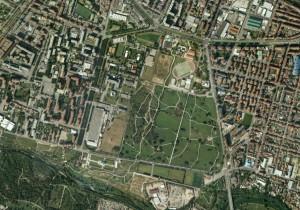 Veduta aerea del Giardino Colonnetti (Google Earth).