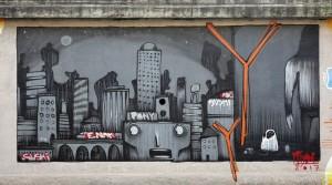 Mr Fijodor, murale senza titolo, 2018, cavalcavia di corso Bramante. Fotografia di Roberto Cortese, 2018 © Archivio Storico della Città di Torino