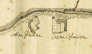 Cascina Calcaterra e cascina Gibellino. Vincenzo Maria Ferrero Sevalle, Tipo del Corso del Fiume Dora, 1746. © Archivio Storico della Città di Torino