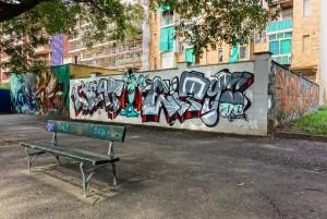 Deder, Wubik, Bans, murale senza titolo, 2015, giardini Natale Re. Fotografia di Roberto Cortese, 2017 © Archivio Storico della Città di Torino
