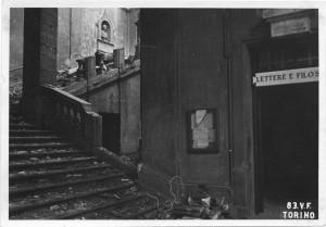 Regia Università, Via Po 17. Effetti prodotti dai bombardamenti dell'incursione aerea del 13 luglio 1943. UPA 3636_9E01-28. © Archivio Storico della Città di Torino/Archivio Storico Vigili del Fuoco