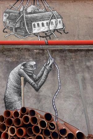 Artisti vari, murales senza titolo, spazio culturale Variante Bunker. Fotografia di Roberto Cortese, 2017 © Archivio Storico della Città di Torino