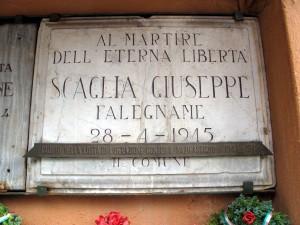 Lapide dedicata a Giuseppe Scaglia (1882 - 1945)