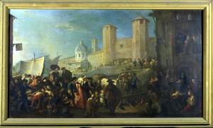 Pietro Domenico Olivero (1679-1755), Mercato presso le torri palatine, XVIII secolo, olio su tela, cm 115x65. Torino, Museo Civico d'Arte Antica e Palazzo Madama, inv. 0635/D