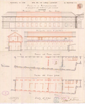 Progetto di ampliamento e sopraelevazione della fabbrica Laurenti a fine Ottocento, che tuttavia mantiene inalterata la struttura originaria dell'edificio.© Archivio di Stato della Città di Torino