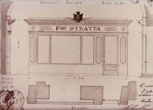 Progetto per la devanture della Confetteria Stratta, 1883, © Archivio Storico della Città di Torino