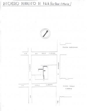 Planimetria del ricovero pubblico ex casa Littoria Palazzo Campana, scala 1:1500. ASCT, Miscellanea sicurezza pubblica 58. © Archivio Storico della Città di Torino