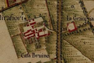 Cascina La Grangia, già Lagrange. Carta Topografica della Caccia, 1760-1766 circa, © Archivio di Stato di Torino.