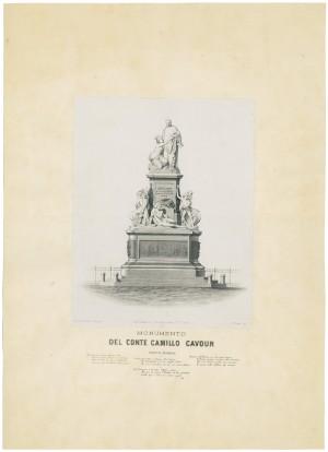 Monumento a Camillo Benso conte di Cavour. Litografia di G. Gualdi e C. © Archivio Storico della Città di Torino