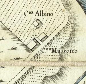 Cascina Nicolini e Cascina Arnaldi, già cascina Rubeo. Amedeo Grossi, Carta Corografica dimostrativa del territorio della Città di Torino, 1791. © Archivio Storico della Città di Torino