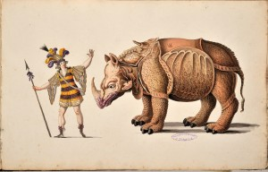Uomo in costume con lancia e rinoceronte, Collezione Pregliasco, anni 1802-1818. Biblioteca civica Centrale Ms. 222 n. 43 © Biblioteche civiche torinesi