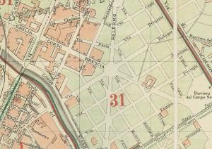 Particolare della Pianta di Torino, 1896. ASCT, Collezione Simeom, D 126. © Archivio Storico della Città di Torino