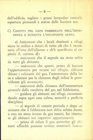 Unione Nazionale Protezione Antiaerea. Norme per il capo fabbricato, pagina 6 di 8. ASCT, Miscellanea sicurezza pubblica 58. © Archivio Storico della Città di Torino