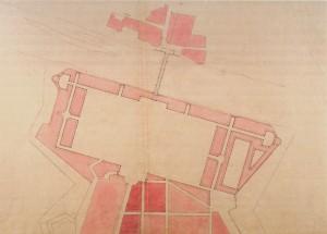 Ernest Melano, Progetto per una piazza d'armi nell'area poi occupata da Piazza Vittorio. AST, Carte Topografiche per A e B. © Archivio di Stato di Torino