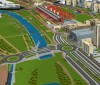 Render di progetto del ponte, nella versione comprendente la copertura delle strutture a V mediante carter metallici appuntiti, eliminati nel progetto finale per lasciare a vista le travi. Città di Torino, 2008.