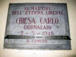 Lapide dedicata a Carlo Chiesa (1891 - 1945)