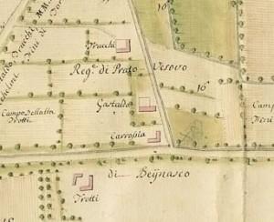 Cascina Tre Tetti Nigra. Carlo Antonio Bussi ,Tipo tra Moncalieri, Beinasco e Grugliasco, 1777. © Archivio Storico della Città di Torino