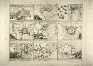 Pianta prospettica delle fortificazioni di Torino e dei dintorni durante l'assedio del 1706 (1750 circa)