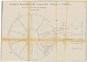 Scuola Elementare Vincenzo Troya, Pianta piano terreno,s.d. (ASCT, Tipi e disegni, cart. 14, fasc. 7, n. 18) ©Archivio Storico della Città di Torino