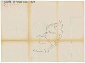 Rotonda ex Scuola Elementare V. Troia, pianta piano sotterraneo, scala 1:100, senza data (ASCT, Tipi e disegni, cart. 14, fasc.7, n.17) © Archivio Storico della città di Torino