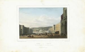 Piazza Vittorio Emanuele. Litografia di B. Lemercier. © Archivio Storico della Città di Torino