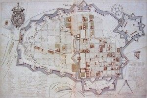 Carlo Morello, Progetto con stato di fatto e ipotesi alternative per le nuove fortificazioni di Torino (Biblioteca Reale di Torino, Militari 178).