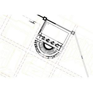 Planimetria ricostruttiva del teatro.© Soprintendenza per i Beni Archeologici del Piemonte e del Museo Antichità Egizie