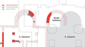 L'abside del battistero annesso a S. Salvatore. © Soprintendenza per i Beni Archeologici del Piemonte e del Museo Antichità Egizie.
